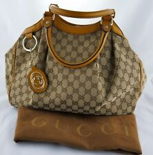 Gucci GG Sukey Large Bag Tote Shoulder Handbag Mustard Leather Trim Dust Bag