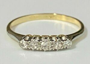 Solid 18K Gold & Platinum five Diamond ring size Q 1/2 -  8 1/4
