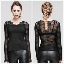 Devil Fashion TT013 Black Gothic Punk  Long Sleeve Spider Web Mesh T-shirt Top