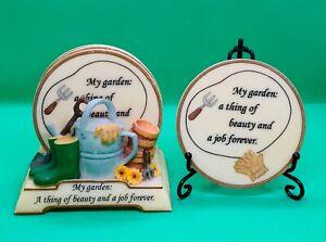 Vintage 00s SHUDEHILL GIFTWARE Ceramic 4 Coaster Set & Stand Love Gardening