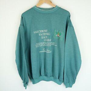 Vintage 90's Graphic Yachting Club Logo sweatshirt Retro SZ LARGE (E9701)