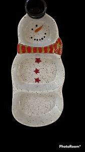 Pottery Snowman 3-Section Server with Toothpick Holder By Grasslands Road