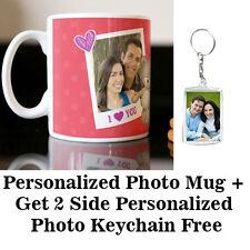 Personalized Mug Customized Mug With Free 2 Side Acrylic Photo Keychain