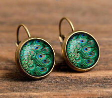 Peacock Bronze Glass CABOCHON 18mm Handmade Earrings Jewelry Gb04