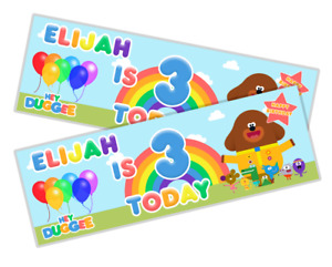 2x Personalised Hey Duggee Animated Birthday Party Banner