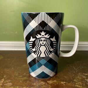 Starbucks Plaid Siren/Mermaid Logo 16 oz Mug Coffee Tea Cocoa Teal Black White