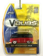 Jada Toys V Dubs 1962 62 Volkswagen VW Bus Van Surfboard Black Red 1/64 Scale