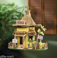 beach grass hut happy hour tiki bar luau Wood fairy garden Bird house birdhouse