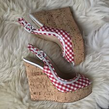 100% Authentic Christian Louboutin Red White Wedge Sandals Leather 39 6 Suede