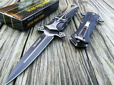 TAC FORCE Black Celtic Cross Spring Assisted Open Tactical Dagger Folding Knife