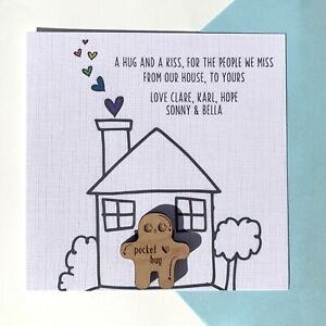 Personalised pocket hug, from our house to yours card, isolation gift, miss you
