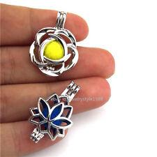 21673 2pcs/set  Silver Plant Growth Flower Bead Pearl Cage Locket - Bulk Sale