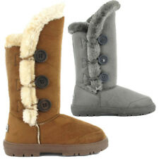 Womens Ella Shoes Whistler Boots Winter Tall Faux Suede Fur Grey Chestnut Button