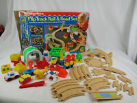 Vintage Fisher Price Flip Track Rail & Road Train Set - 1991 - 2 In One Play Set