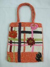 Orange Multi Color Beads Beaded Small Evening Handbag Purse Bag Snap Closure