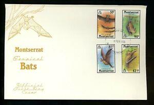 Postal History FDC #667-670 Montserrat 1988 Animals bats