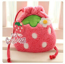 NWOT Korean Plush Strawberry Drawstring Makeup Purse Super Soft Cute Girl Gift
