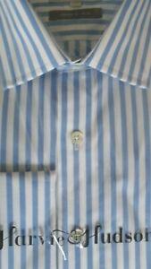 """Harvie & Hudson 16""""/33.5"""" Cotton Blue Butcher Stripe Shirt Double Cuff -Slim Fit"""