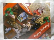 Holiday Seasonal Card Christmas Happy Teddy Boat Top Stamp Greetings Busy