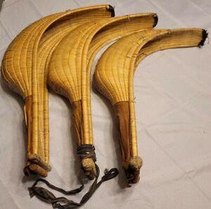 3 Vintage Jai Alai Cesta Wicker Rattan Leather Gloves Mitts Philippines 80's