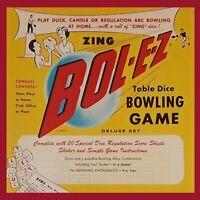 Mint 1958 Zing Bol-E-Z Bowling Dice Game RARE New Old Stock Antique Buffalo, NY
