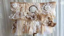 Handmade Shabby Chic Gypsy Hippie Bohemian Handbag Purse Burlap Lace Wedding Vtg