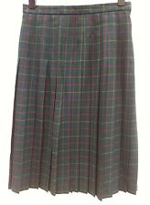 EDINBURGH Pure Wool Pleated Midi Skirt Size UK 16 Green Tartan WORN ONCE