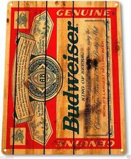 "TIN SIGN ""Budweiser Wood""  Bud Beer Label Metal Decor Wall Art Cave Pub Bar A708"