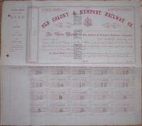 1867 Railroad Bond Certificate: Old Colony & Newport Railway Co. - Massachusetts