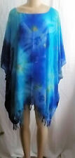 "BLUE NEON MULTI TIE DYE  PONCHO TOP COVER UP FRINGE EDGE Approx 60""x 45"" #1"