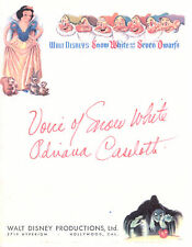 ADRIANA CASELOTTI: Voice of SNOW WHITE Autographed