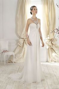 Elegant Halter Chiffon Wedding Dresses Made to Measure Custom Made
