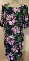 Vintage Retro 60'S Style Floral Mini Shift Dress Tunic Top UK Size 6 8 10 12 14