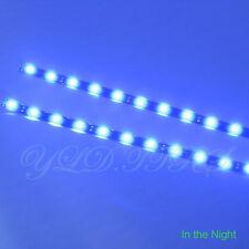 2x Blue 12 LEDs 30cm 5050 SMD LED Strip Light Flexible Waterproof 12V DIY Car