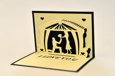 Handmade 3D Pop Up I Love You Propose Marriage Romantic Blue Card