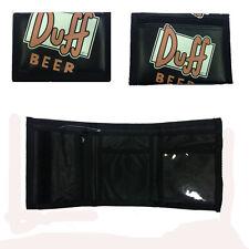 SIMPSON portefeuille bière DUFF en eco-cuir noir fermeture scratch 12x9 cm