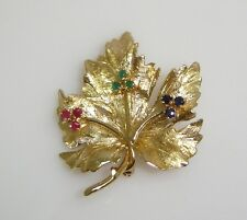 MAPLE LEAF PIN/BROOCH WITH 9 MULTI GEMSTONES SET IN 14K YELLOW GOLD N394-L