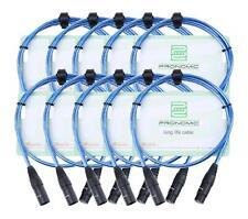 10x Set Profi DJ PA Mikrofon Kabel 1m Patch Cable XLR Male Female metallic blau