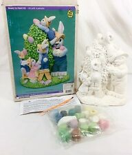 "Vtg Wee Crafts 11"" Easter Bunnies GIMME A BOOST 1997 Ready to Paint Kit #21416"