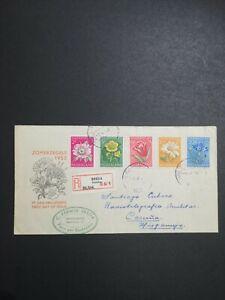 Netherlands FDC 1952 Summer Flowers cover to Hispania ( Espanha) Registered