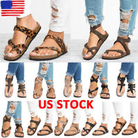 Womens Gladiator Flat Sandals Flip Flops Summer Beach Casual Slippers Lady Shoes