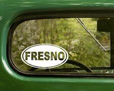 Fresno California Decal Sticker, 2 Oval for Travel Mug, Car, Laptop