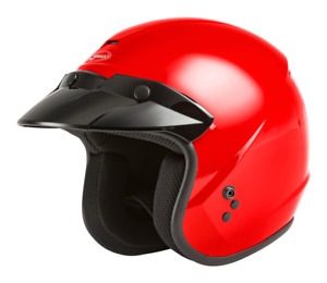 GMAX Youth OF-2Y Open-Face Helmet (SZ Youth Large, Red)