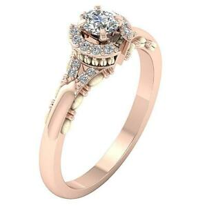 SI1 G 0.50 Ct Natural Round  Diamond Solitaire Engagement Ring 14K Rose Gold