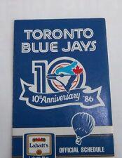 Toronto Blue Jays Baseball pocket schedule 1986 Tenth Anniversary  MBL