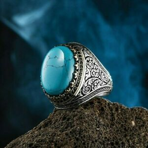 Solid 925 Sterling Silver Turkish Turquoise Tiger's Eye Onyx Stone Men's Ring