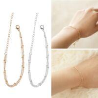 Women Minimal Gold Fill Jewelry Dainty Double-Layer Satellite Chain Bracelets