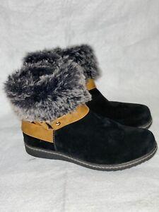 Spring Step Suede Fur Cuff Wedge Heel Boots -Black 39