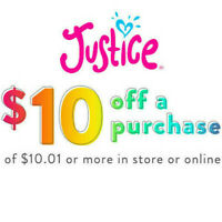 Justice C0UPON CODE $10 OFF $10 Purchase / ONLINE - IN-STORE Ex 08/31/20