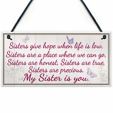 Sister Is You Handmade Sisters Friend Gift Hanging Plaque Present Sign